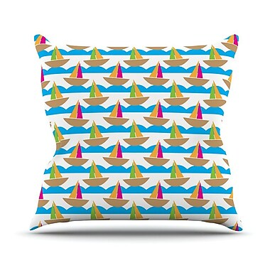 KESS InHouse Beside the Seaside by Apple Kaur Designs Boats Throw Pillow; 26'' H x 26'' W x 5'' D
