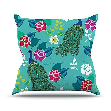 KESS InHouse Mexican Peacock by Anneline Sophia Rainbow Throw Pillow; 26'' H x 26'' W x 1'' D