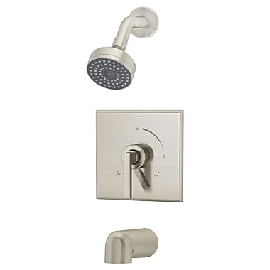 Symmons Duro Pressure Balance Tub and Shower Faucet Trim w/ Lever Handle; Satin Nickel