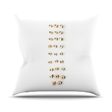 KESS InHouse ABC by Ingrid Beddoes Wooden Letters Throw Pillow; 16'' H x 16'' W x 3'' D