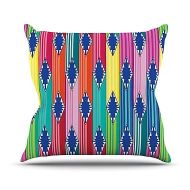 KESS InHouse Blanket by Anneline Sophia Rainbow Tribal Throw Pillow; 16'' H x 16'' W x 1'' D