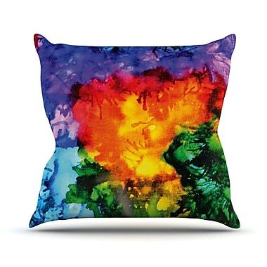 KESS InHouse Karma by Claire Day Rainbow Paint Throw Pillow; 18'' H x 18'' W x 1'' D