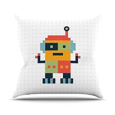 KESS InHouse Happy Robot Throw Pillow; 18'' H x 18'' W x 1'' D