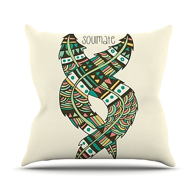 KESS InHouse Soulmate Feathers by Pom Graphic Throw Pillow; 20'' H x 20'' W x 4'' D