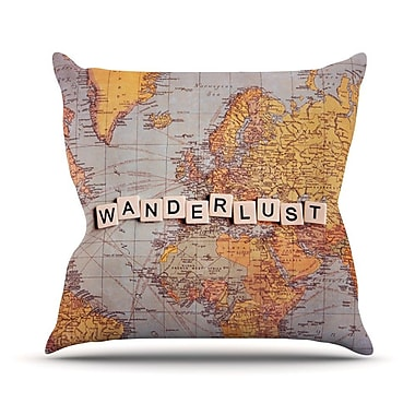 KESS InHouse Wanderlust Map by Sylvia Cook World Throw Pillow; 18'' H x 18'' W x 3'' D