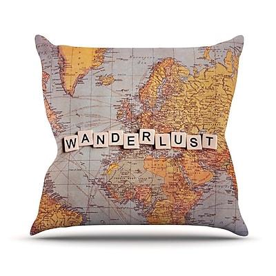 KESS InHouse Wanderlust Map by Sylvia Cook World Throw Pillow; 20'' H x 20'' W x 4'' D
