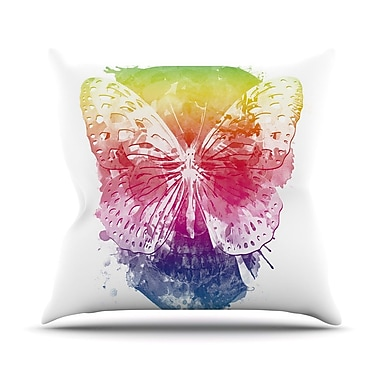 KESS InHouse Butterfly Skull by Frederic Levy-Hadida Rainbow Throw Pillow; 26'' H x 26'' W x 1'' D