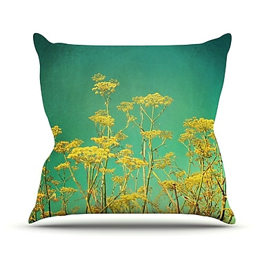 KESS InHouse Flowers by Sylvia Cook Sky Throw Pillow; 18'' H x 18'' W x 3'' D