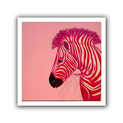ArtWall Pink Zebra' by Lindsey Janich Graphic Art on Rolled Canvas; 40'' H x 40'' W