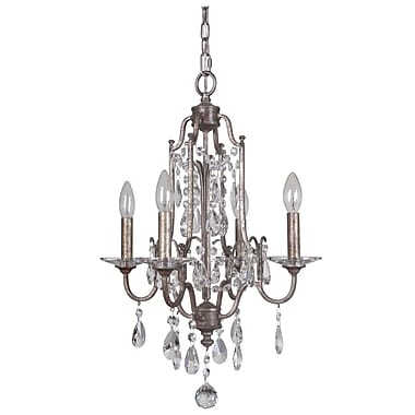 MarianaHome Adorned 4-Light Candle-Style Chandelier; Vintage Champagne