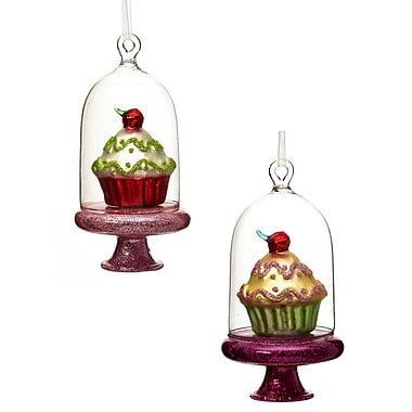Cypress Sweet Cloche and Cupcake Polystone Ornament (Set of 2)