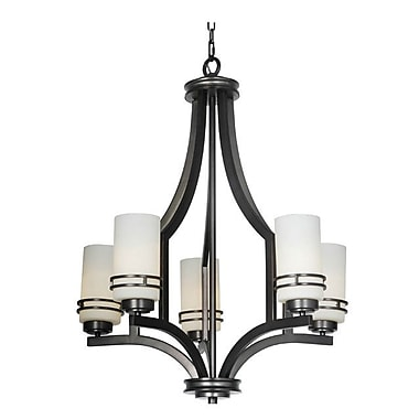 MarianaHome Uptown 5-Light Shaded Chandelier; Nickel