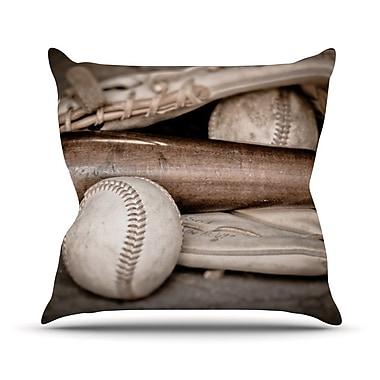 KESS InHouse Play Ball by Debbra Obertanec Baseball Throw Pillow; 26'' H x 26'' W x 1'' D