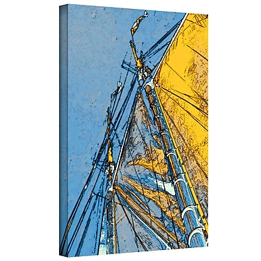 ArtWall 'Yellow Sails at Sea' by Linda Parker Painting Print on Wrapped Canvas; 24'' H x 36'' W