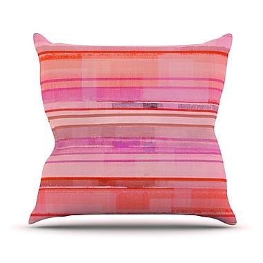 KESS InHouse Starwberry Shortcake Stripes Throw Pillow; 16'' H x 16'' W x 1'' D