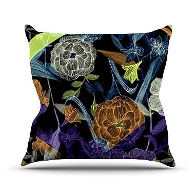 KESS InHouse Wonder by Gabriela Fuente Dark Flower Throw Pillow; 18'' H x 18'' W x 1'' D