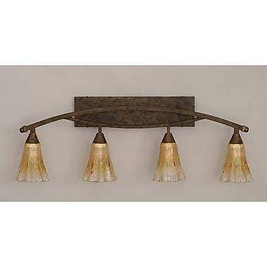Toltec Lighting Bow 4-Light Vanity Light; Amber