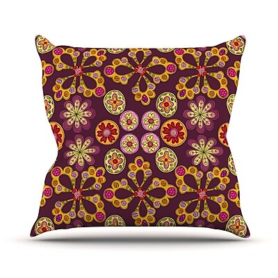 KESS InHouse Indian Jewelry Floral by Jane Smith Throw Pillow; 20'' H x 20'' W x 4'' D