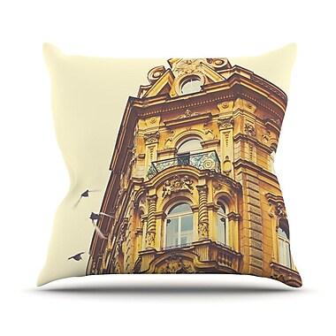 KESS InHouse Prague Morning by Ann Barnes Gold Building Throw Pillow; 16'' H x 16'' W x 1'' D