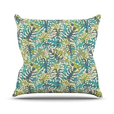 KESS InHouse Tropical Leaves by Julia Grifol Throw Pillow; 18'' H x 18'' W x 3'' D