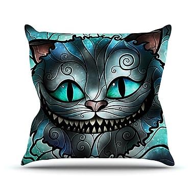 KESS InHouse Mad Chesire by Mandie Manzano Cat Throw Pillow; 18'' H x 18'' W x 3'' D