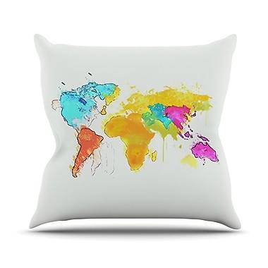 KESS InHouse World Map by Oriana Cordero Rainbow Throw Pillow; 26'' H x 26'' W x 5'' D