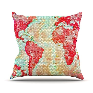 KESS InHouse Oh The Places We'll Go by Alison Coxon World Map Throw Pillow; 18'' H x 18'' W x 1'' D