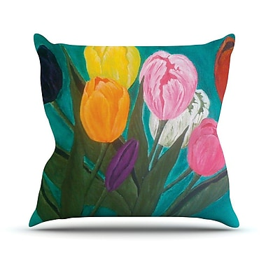 KESS InHouse Tulips by Christen Treat Rainbow Flower Throw Pillow; 20'' H x 20'' W x 1'' D