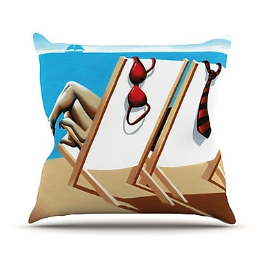 KESS InHouse Vacation by Thomas Fuchs Beach Throw Pillow; 18'' H x 18'' W x 3'' D