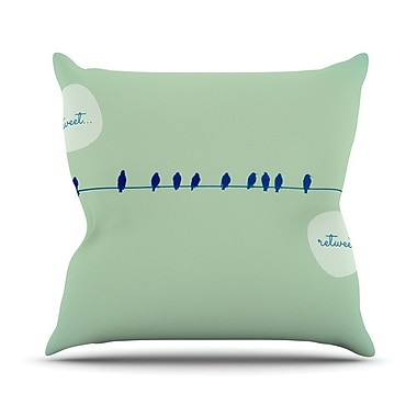 KESS InHouse Tweeting by Robin Dickinson Throw Pillow; 18'' H x 18'' W x 3'' D