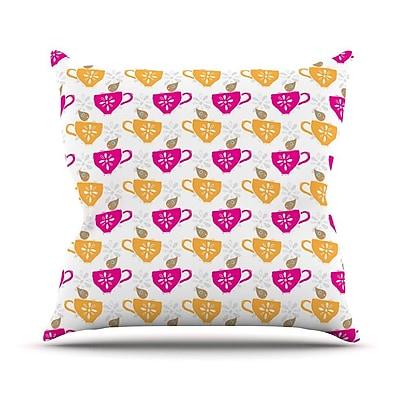 KESS InHouse Tea-Birds by Apple Kaur Designs Throw Pillow; 20'' H x 20'' W x 4'' D