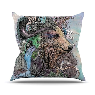 KESS InHouse Forest Warden by Mat Miller Bear Nature Throw Pillow; 16'' H x 16'' W x 3'' D