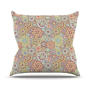 KESS InHouse My Happy Flowers by Julia Grifol Throw Pillow; 16'' H x 16'' W x 3'' D