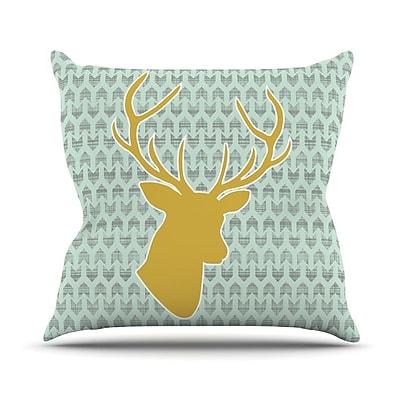 KESS InHouse Golden Deer by Pellerina Design Throw Pillow; 16'' H x 16'' W x 1'' D