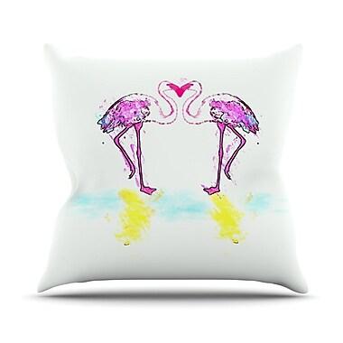 KESS InHouse Pink Love by Oriana Cordero Flamingo Throw Pillow; 16'' H x 16'' W x 3'' D