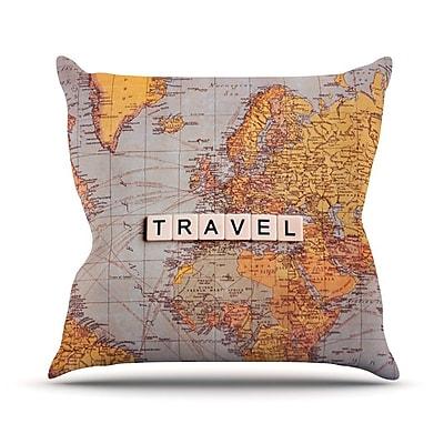 KESS InHouse Travel Map by Sylvia Cook World Throw Pillow; 26'' H x 26'' W x 5'' D