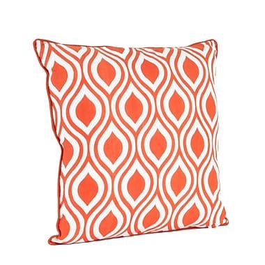 Saro Teardrop Design Printed Throw Pillow; Tangerine