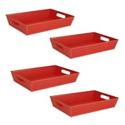 WaldImports 4 Piece Black Paperboard Tray Set (Set of 4); Red