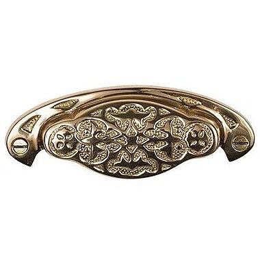 Brass Elegans Newcastle 3 3/4'' Center Cup/Bin Pull; Polished Brass