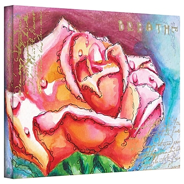 ArtWall 'Pink Rose Dew' by Susi Franco Painting Print on Canvas; 14'' H x 18'' W