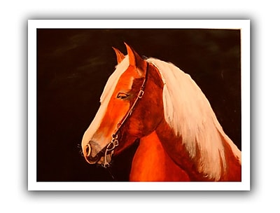 ArtWall Horse Painted' by Lindsey Janich Graphic Art on Rolled Canvas; 40'' H x 52'' W