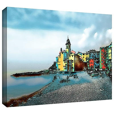 ArtWall 'Camogli Italy Beachside Signed' by Linda Parker Painting Print on Wrapped Canvas