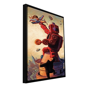 ArtWall 'Robokong' by Eric Joyner Framed Painting Print on Wrapped Canvas; 24'' H x 48'' W