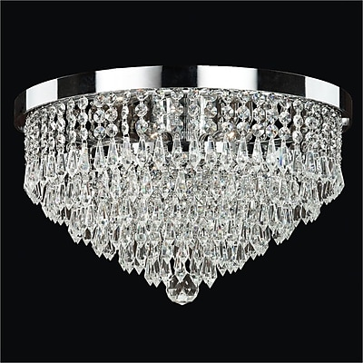 Glow Lighting Spellbound 3-Light Close -Up Flush Mount; Signature Clear Crystal