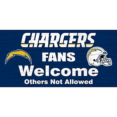 Fan Creations NFL 'Fans Welcome' Graphic Art Print on Wood; San Diego Chargers