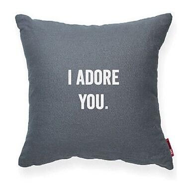 Posh365 Expressive I Adore You Throw Pillow; Gray