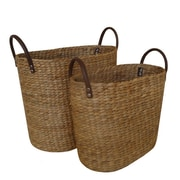 Baum Water Hyacinth 2 Piece Basket Set w/ Faux Leather Handles