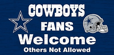 Fan Creations NFL 'Fans Welcome' Graphic Art Print on Wood; Dallas Cowboys