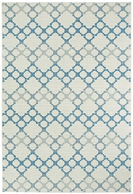 Capel Elsinore Blue/Gray Outdoor Area Rug; 3'11'' x 5'6''