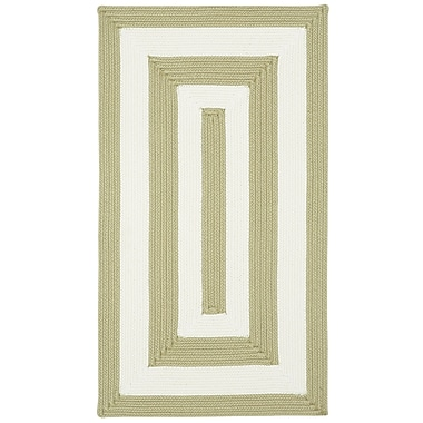 Capel Willoughby Cream Striped Outdoor Area Rug; Concentric Square 9'6''